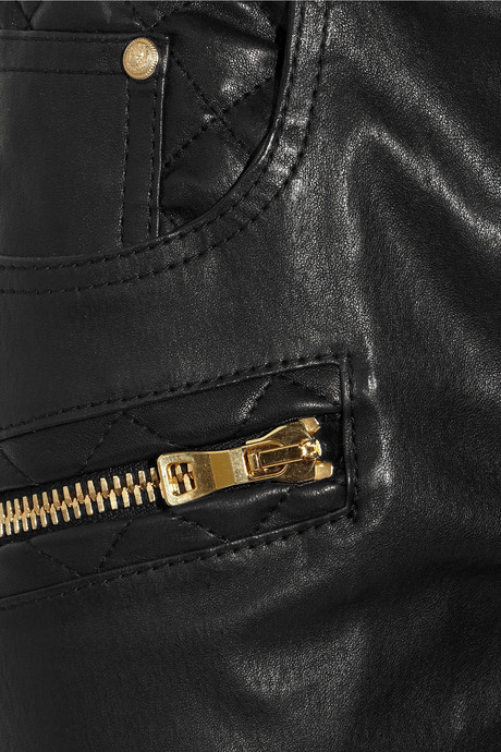 Balmain Quilted leather skinny pants