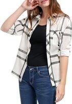 Allegra K Women Roll Up Sleeves Buttoned Tunic Plaid Shirt Black XS