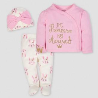 Gerber Baby Girls' Princess 3pc Side-Snap Shirt, Footed Pants and Cap Set - 0-3M
