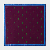 Paul Smith Men's Damson 'Gufram Cactus' Print Silk Pocket Square