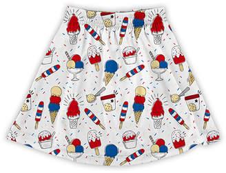 Urban Smalls Girls' Casual Skirts Multi - White & Blue Ice Cream A-Line Skirt - Toddler & Girls