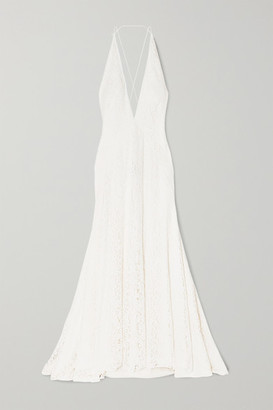 Michael Lo Sordo Alexandra Silk Guipure Lace Gown - Ivory