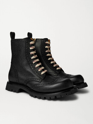 Gucci New Arley Pebble-Grain Leather Brogue Boots