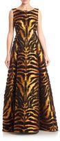 Alberta Ferretti Jacquard Decoupe Sleeveless Gown