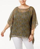 MICHAEL Michael Kors Size Quinn Sheer Floral-Print Poncho Top
