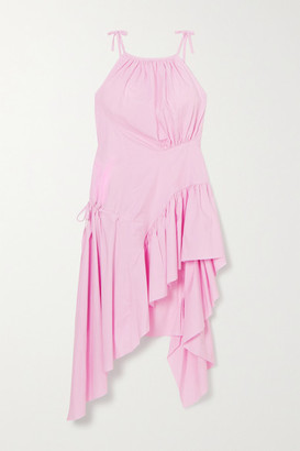 Marques Almeida Asymmetric Frayed Ruffled Organic Cotton-poplin Dress - Pink