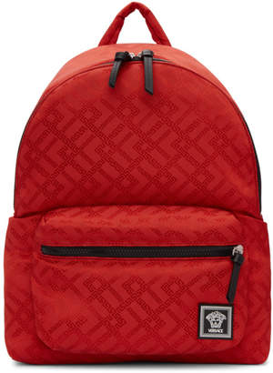Versace Red Greek Drawing Backpack