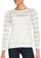 Lord & Taylor Petite Long Sleeve Ruffle Lace Mesh Tee