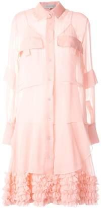 Lee Mathews Kitty silk ruffle-hem dress