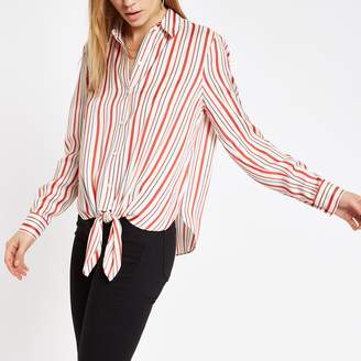 River Island Womens Red stripe print tie front shirt