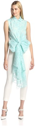 Christian Siriano Women's Paisley Organza Front Tie Blouse