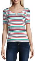 U.S. Polo Assn. Womens Split Crew Neck Short Sleeve T-Shirt Juniors