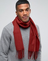 Asos Woven Scarf In Burgundy