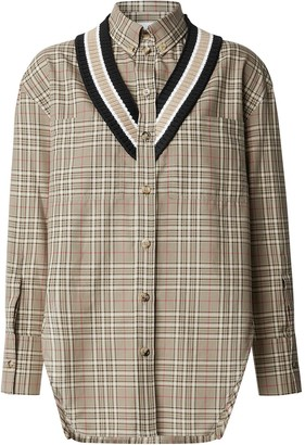 Burberry Oversized Cricket Stripe Check Shirt