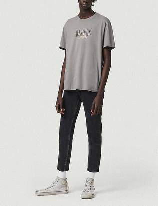 AllSaints Brand-print bleached crewneck cotton-jersey T-shirt