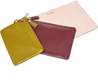 Ted Baker Womens Marioon Colour Bloc Leather Triple Pouch Pl-Pink