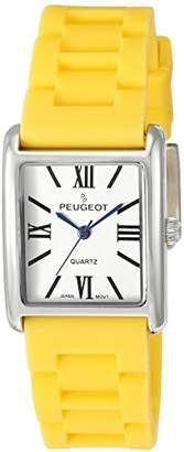 Peugeot Women's 'Silver Tank' Quartz Metal and Rubber Dress Watch