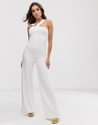 Club L London jumpsuit with hardware back detail in white