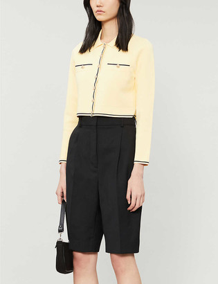 Sandro Janys cropped stretch-knit cardigan