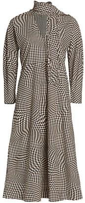 Ganni Houndstooth Tie-Neck Cotton Poplin Midi Dress
