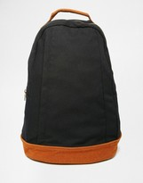 Asos Backpack In Black Canvas With Faux Suede Trims
