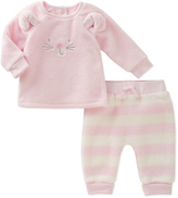 Absorba Pink Bear Face Top & Stripe Pants - Infant