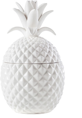 Torre & Tagus Pineapple White Ceramic Canister