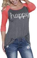 KUFV Womens Raglan Sleeve Letters Printed Crew Neck Causal Top T shirts