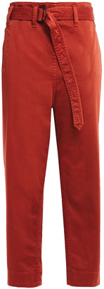 Brunello Cucinelli Cropped Belted Cotton-blend Gabardine Tapered Pants