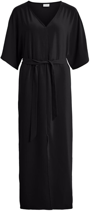 Vila Maxi Shirt Dress with 3/4 Length Sleeves and Tie-Waist