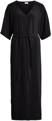 Vila Maxi Shirt Dress with 3/4 Length Sleeves and Tie-Waist