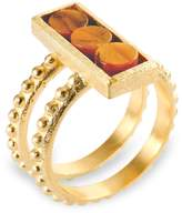 Ona Chan Jewelry - Double Shank Beaded Rectangle Ring with Tiger's Eye