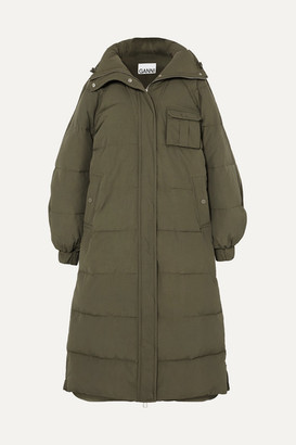 Ganni Oversized Quilted Shell Coat - Army green