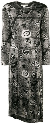 Comme Des Garçons Pre Owned Abstract Print Longsleeved Dress