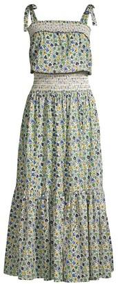 Tory Burch Floral Smocked Midi Dress
