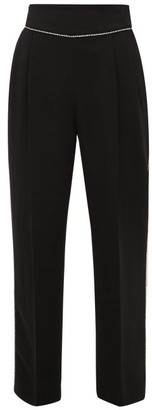 MSGM Crystal-trimmed Crepe Trousers - Womens - Black