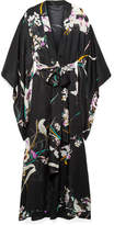 Carine Gilson Floral-print Silk-georgette Robe - Black