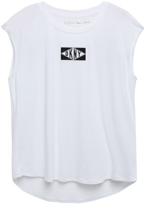 DKNY Appliqued Printed Cotton-blend Jersey T-shirt