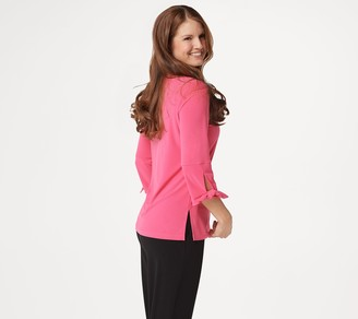 Dennis Basso Caviar Crepe 3/4-Sleeve Top with Tie Detail