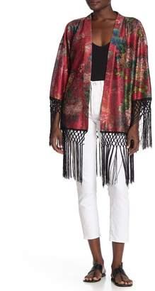 Blank NYC BLANKNYC Denim Floral Fringe Trim Kimono