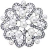 Nina Silver-Tone Crystal and Imitation Pearl Flower Brooch