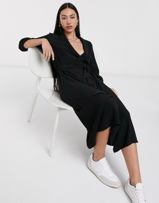 Selected Marina 3/4 sleeve midi shirt dress in black