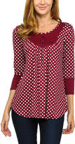 Celeste Burgundy Polka Dot Button-Accent Tunic
