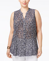 Charter Club Plus Size Sheer Lace Blouse, Only at Macy's