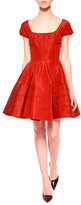 Zac Posen Flounce-Skirt Taffeta Dress