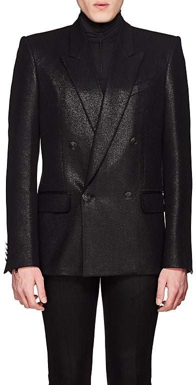 Givenchy Men's Coated Wool Twill Double-Breasted Sportcoat