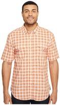 True Grit Soho Plaid Short Sleeve Two-Pocket Shirt Stitch Detail Vintage Washed Men's Clothing