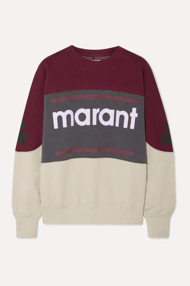Etoile Isabel Marant Gallian Flocked Cotton-blend Fleece Sweatshirt - Burgundy