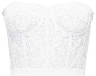 Alexander McQueen Endangered Flower Cotton-crochet Bustier Top - White