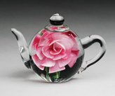 Dynasty Gallery Glass Teapot Paperweight with Pink Rose, 5.5 Inches Long